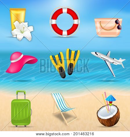 Set Realistic Travel and Tourism Accessories. Collection Summer Design Elements for Voyage - Illustration Vector
