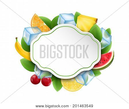Food Clean Card with Fruits and Berries, Ice Cubes - Illustration Vector