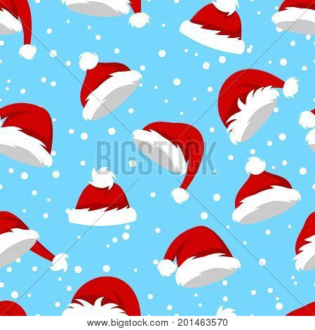 Seamless Pattern with Santa Hats and Snow on Blue Background, Set Different Christmas Caps - Illustration Vector