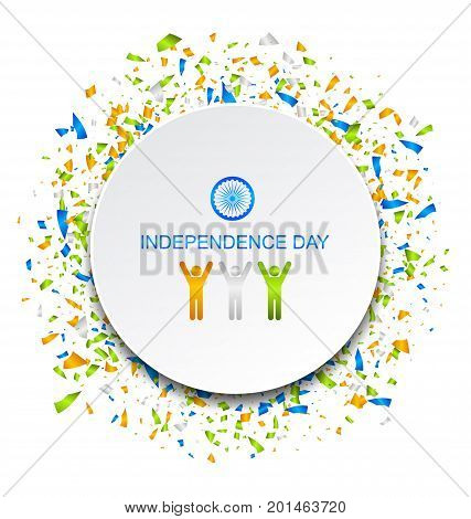 Celebration Card for Independence Day of India with Confetti, 15th of August - Illustration Vector