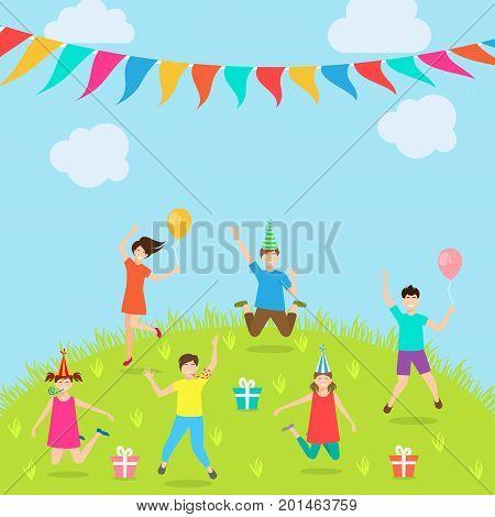 Children Have Fun Party. Amusement Park. Active Kids Jumping - Illustration Vector