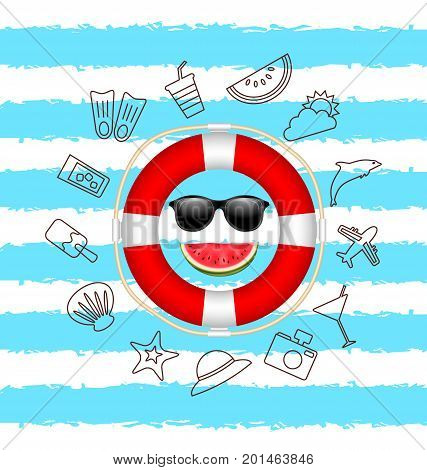 Banner for Summer Time .Vacation Background with Hand Drawing Elements - Illustration Vector