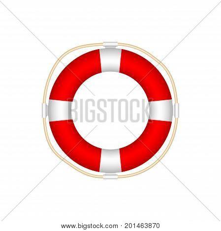 Lifebuoy Icon Isolated on White Background. Realistic Style - Illustration Vector