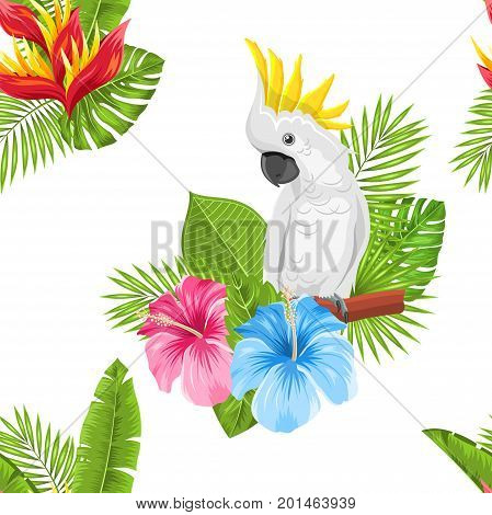 Seamless Exotic Pattern with Parrot Cockatoo and Tropical Leaves and Flowers. Blooming Jungle - Illustration Vector