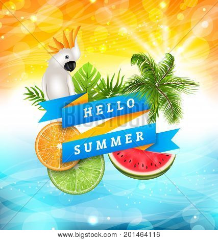 Summer Funny Poster Design with Parrot Cockatoo, Slices of Watermelon, Orange and Lime, Palm Tree Leaves. Ribbon Banner Hello Summer - Illustration Vector