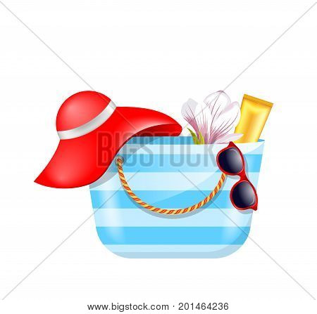 Female Bag with Beach Accessories. Set of Summer Design Elements - Illustration Vector