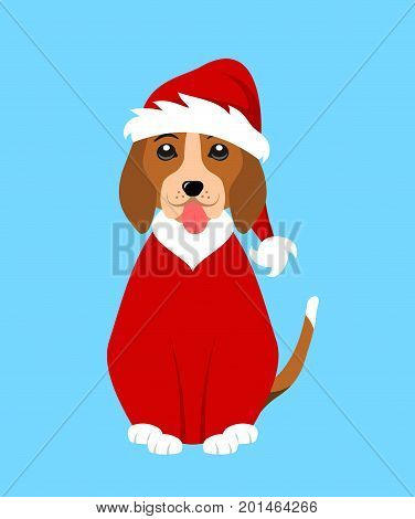 Christmas Funny Dog in Santa Clothes - Illustration