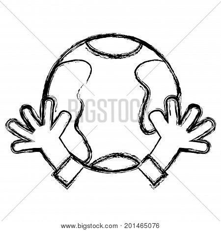 figure earth planet with hands and peace symbol vector illustration