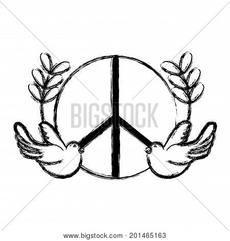 figure hippie emblem with doves and branches design vector illustration
