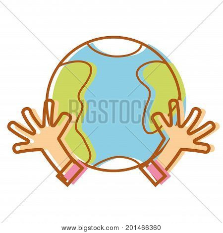 earth planet with hands and peace symbol vector illustration