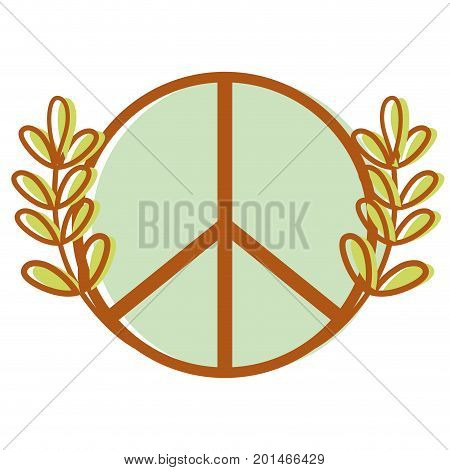 hippie emblem and branches with leaves design vector illustration