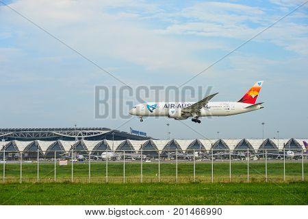 Bangkok Thailand - July 30 2017: Air austral Plane landing to runways at Suvarnabhumi international airport in Bangkok Thailand. This airport is one of the most populated airports in the world.