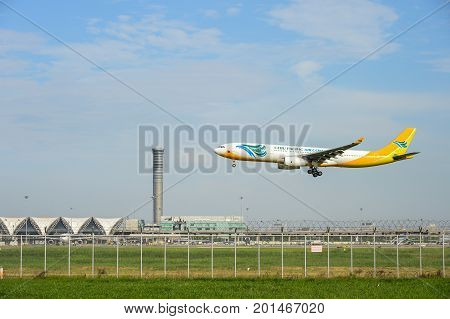 Bangkok Thailand - July 30 2017: Cebu Pacific Air RP-C3344 Airbus plane landing to runways at suvarnabhumi international airport in Bangkok Thailand. This airport is one of the most populated airports in the world.