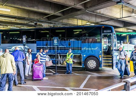 Washington Dc, Usa - July 1, 2017: Inside Union Station Parking Garage For Buses In Capital City Wit