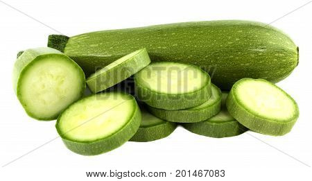 Green zucchini and sliced zucchini isolated on white background