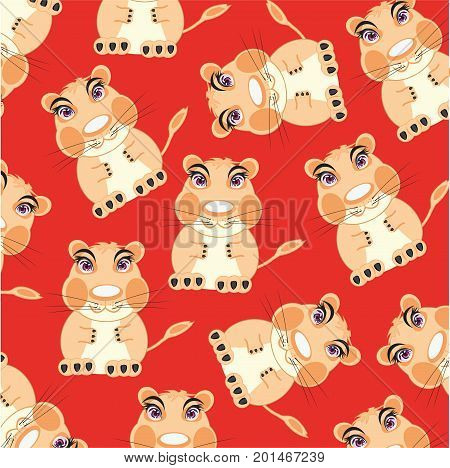 Animal hamster on red background is insulated