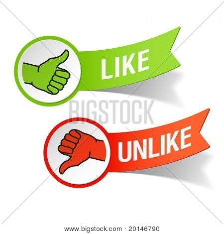 Thumb up and down gestures â?? like and unlike. Vector.