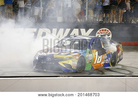 August 19, 2017 - Bristol, Tennessee, USA: Kyle Busch (18) wins the Bass Pro Shops NRA Night Race at Bristol Motor Speedway in Bristol, Tennessee.