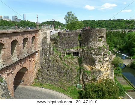 Pont du Chateau and Bock Casemates at Luxembourg City, Luxembourg