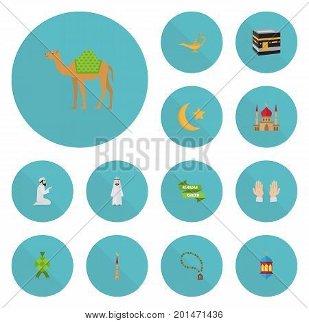 Flat Icons Malay, Arabian, New Lunar And Other Vector Elements