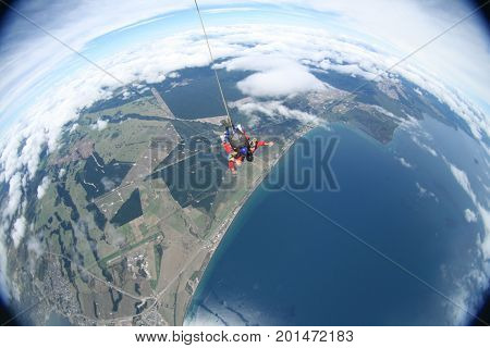 Skydiving over lake Taupo in New Zealand