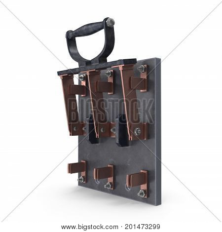 3D rendering of retro knife switch, Isolated on white background.