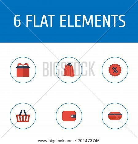 Flat Icons Pouch, Purse, Present And Other Vector Elements