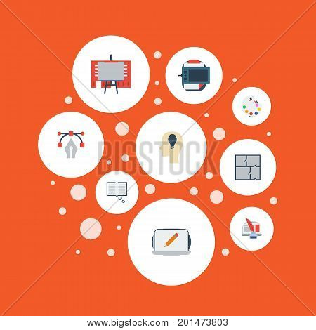 Set Of Creative Flat Icons Symbols Also Includes Color, Palette, Gadget Objects.  Flat Icons Stand, Artist, Pencil Vector Elements.