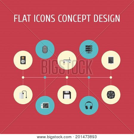 Flat Icons Router, Storage Device, Earphones And Other Vector Elements