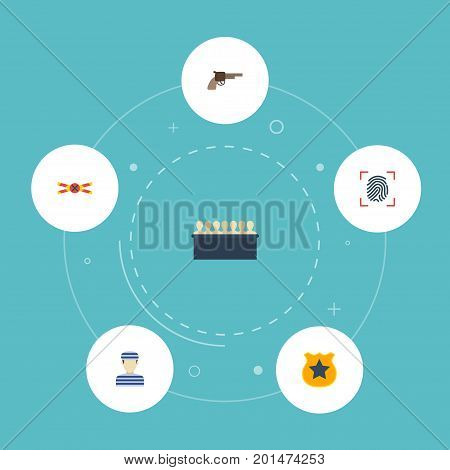 Flat Icons Thumbprint, Prisoner, Jury And Other Vector Elements