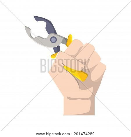 pincers equipment service industry repair in the hand vector illustration