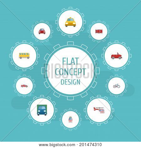 Flat Icons Streetcar, Transport, Bicycle And Other Vector Elements