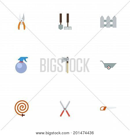 Flat Icons Tools, Wheelbarrow, Spray Bottle And Other Vector Elements