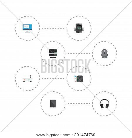 Flat Icons Router, Datacenter, Computer Mouse And Other Vector Elements