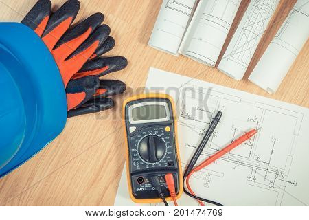 Electrical Diagrams, Helmet With Gloves And Multimeter For Measurement In Electrical Installation