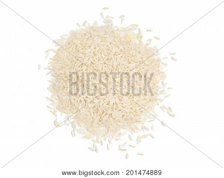 Top view of a heap of raw parboiled rice isolated on white background. Healthy food. Close up high resolution product