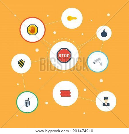 Flat Icons Walkie-Talkie, Road Sign, Forbidden And Other Vector Elements