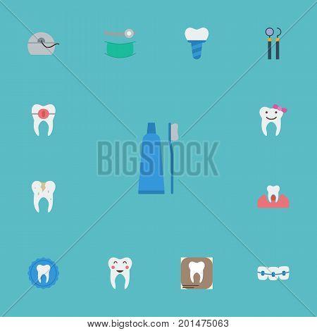 Flat Icons Halitosis, Stomatology, Decay And Other Vector Elements