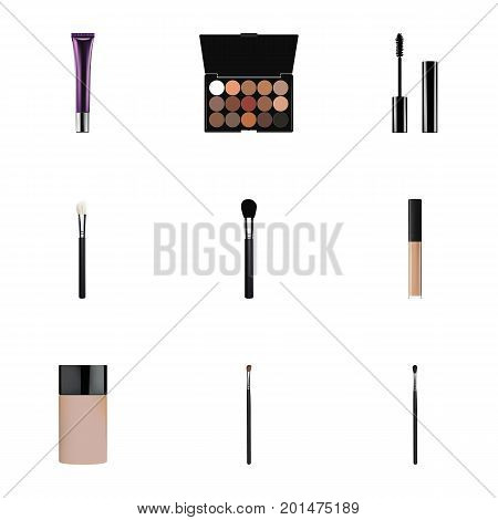 Realistic Beauty Accessory, Concealer, Eyelashes Ink And Other Vector Elements
