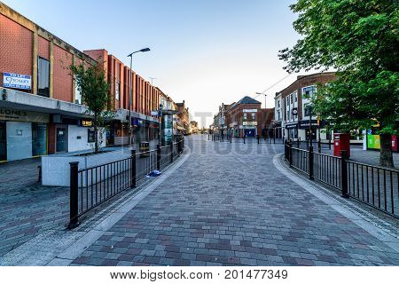 Northampton, UK - Aug 10, 2017: Clear Sky morning view of Abington Street in Northampton Town Centre.