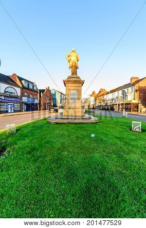 Northampton, UK - Aug 10, 2017: Clear Sky morning view of Charles Branlaugh Monument on Abinton Street Northampton Town Centre.