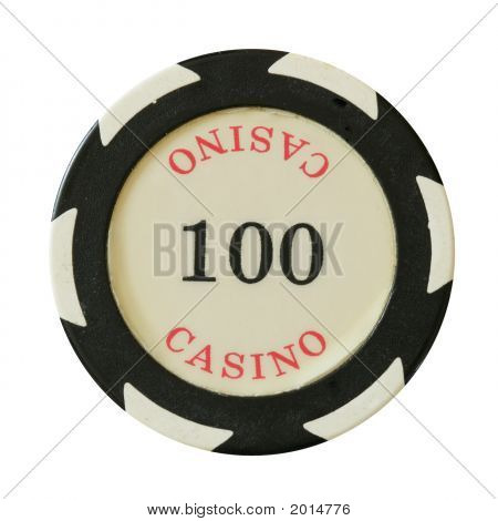 100 dollars casino chip isolated over white background poster