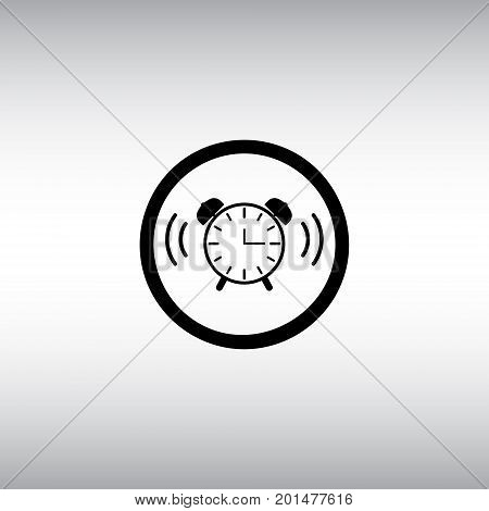 Alarm clock isolated vector sign. Alarm clock flat vector icon. Alarm clock round button.