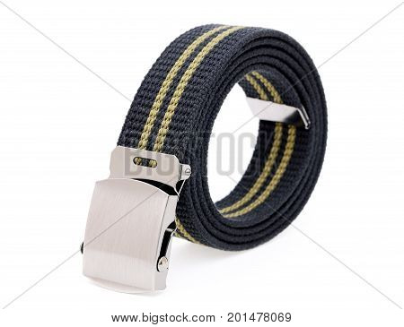 blue color woven belt isolated on white background