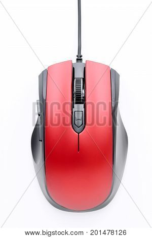 computer mouse with cable on white background