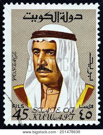 KUWAIT - CIRCA 1969: A stamp printed in Kuwait shows Sheikh Sabah emir of Kuwait, circa 1969.
