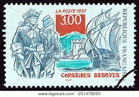 FRANCE - CIRCA 1997: A stamp printed in France shows Basque corsairs, circa 1997.