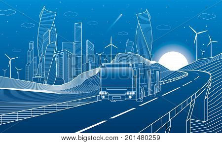 Highway in mountains. Bus rides over the overpass. Tower and skyscrapers, modern city, business buildings. Night scene. White lines on blue background. Windmills power. Vector design art