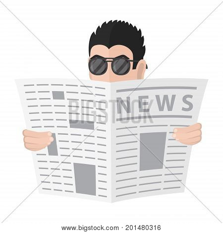 Spy in a sunglasses watches because of the newspaper . Cartoon spy