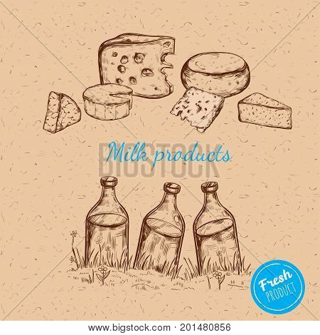 Milk products. Vector hand drawn illustration. Isolated compositions on craft paper